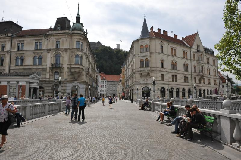 Ljubljana - view towards the city hall and a castle from the Triple Bridge