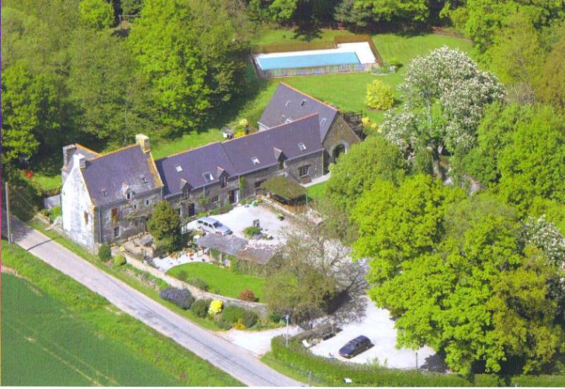 Ariel view of the Manoir de Bodion in 6 acres of lawn and woods