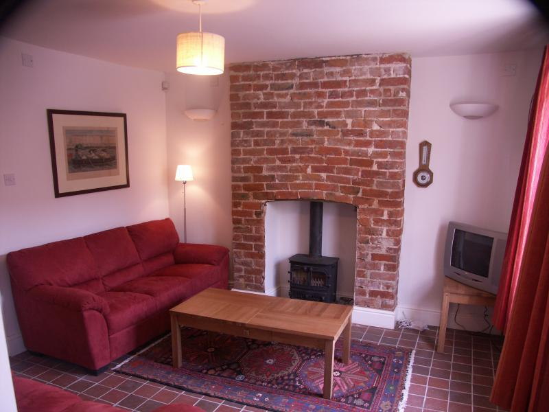 comfy lounge with log burner