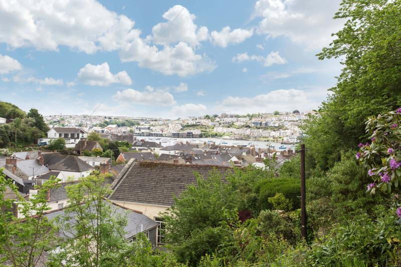View across the bay to Falmouth from the top of the terraced garden