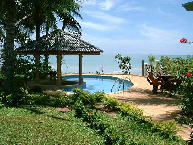 pool and bar of beachfront villa idyllic samui