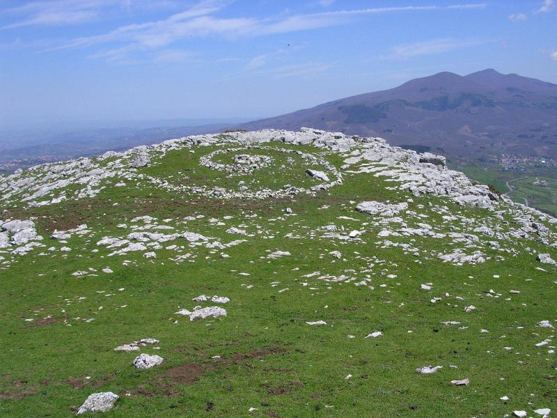 Monte Amiata seen from Monte Labbro, stones laid in a spiral by unknown hands