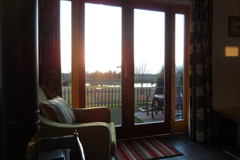 View from lounge overlooking small carp lake