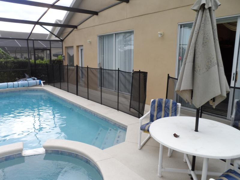 pool area with child security fence erected