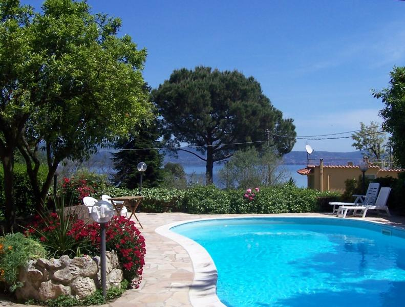 Private swimming pool overlooking  the lake Bracciano