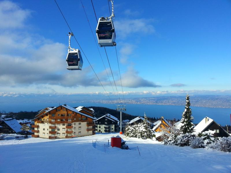 A winter view of our penthouse apartment showing ski-in and proximity to lifts up the mountain