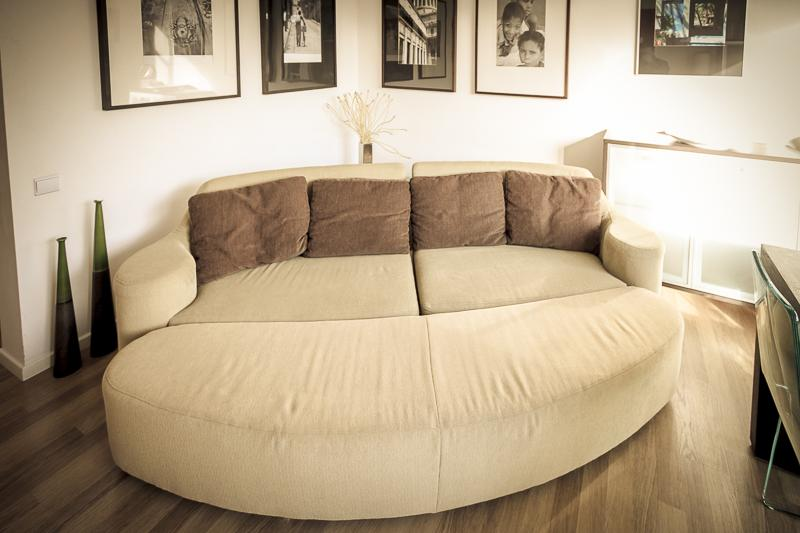 Sofa bed in the living room converts into a bed which comfortably sleeps un to 2 adults