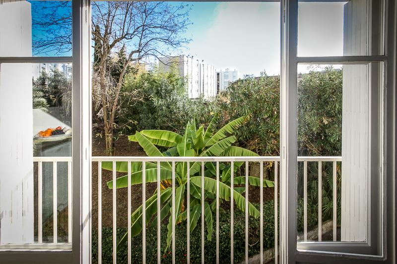 View from the living room into the tropical garden with a banana tree right outside the windows