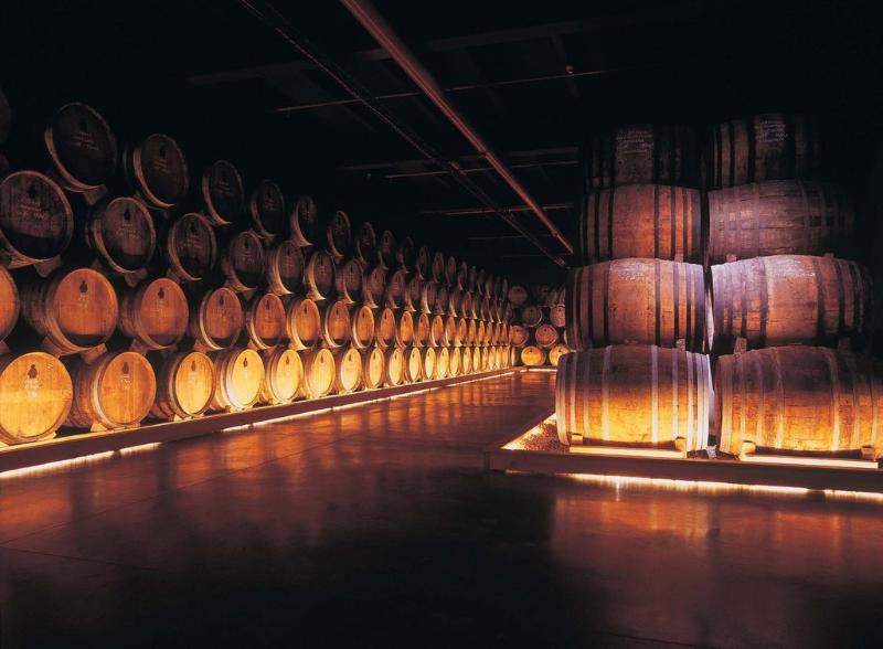 The large cellars of cognac in the region