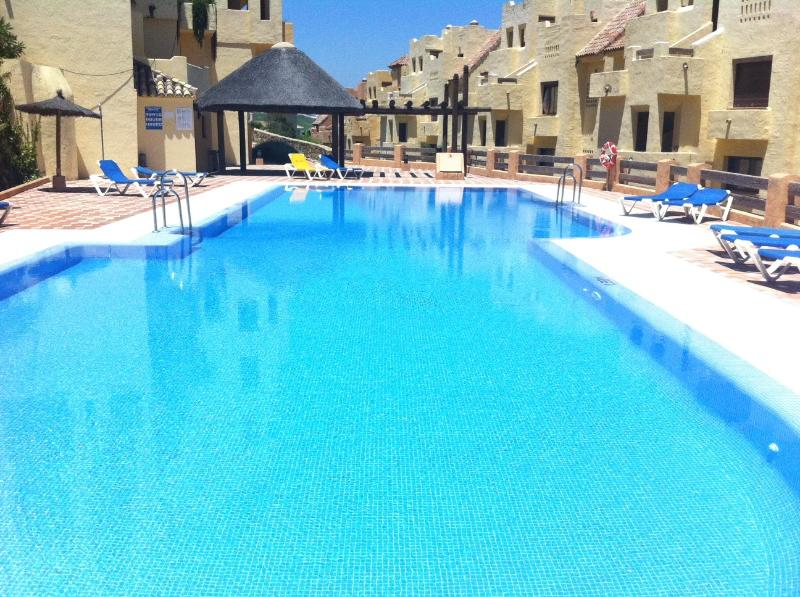 This glittering pool can be seen from the balcony- wc and changing rooms at all pools