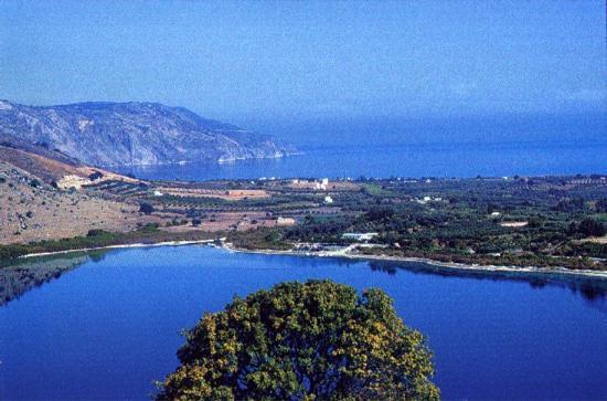 Panoramic view of Lake Kournas swim, climb, walk, relax, enjoy. Visit the beach within a few miles.