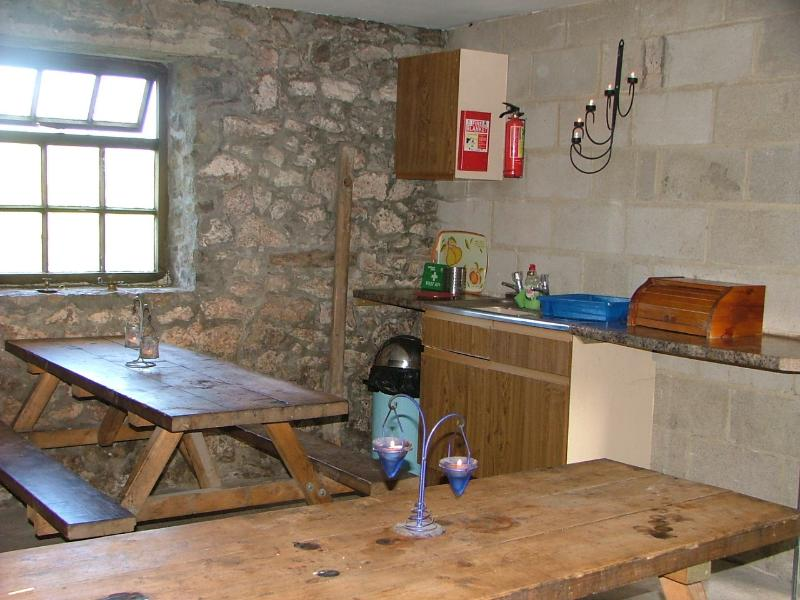 Kitchen and living area with woodburning stove