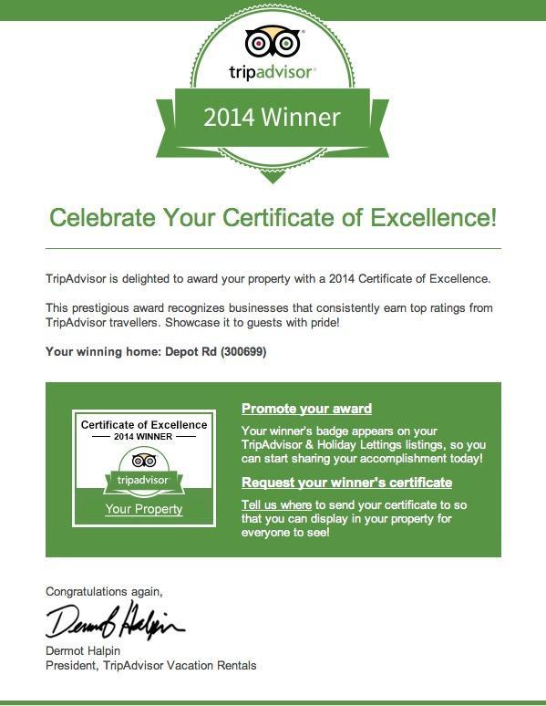 Trip Advisor 2014 Certificate of Excellence Winner