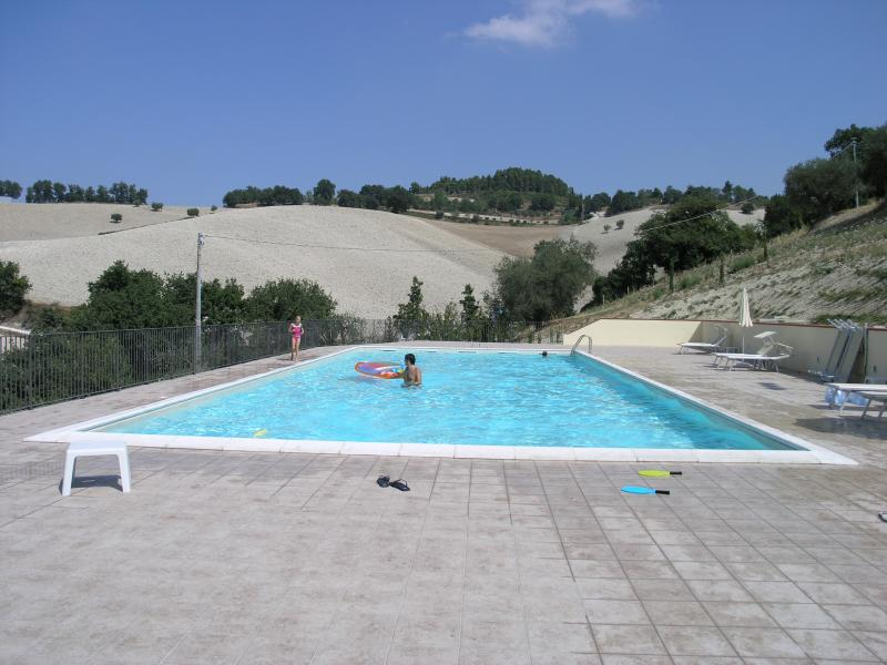 Swimming pool 20m x 10m with showers, changing rooms, toilets, loungers and  parasols