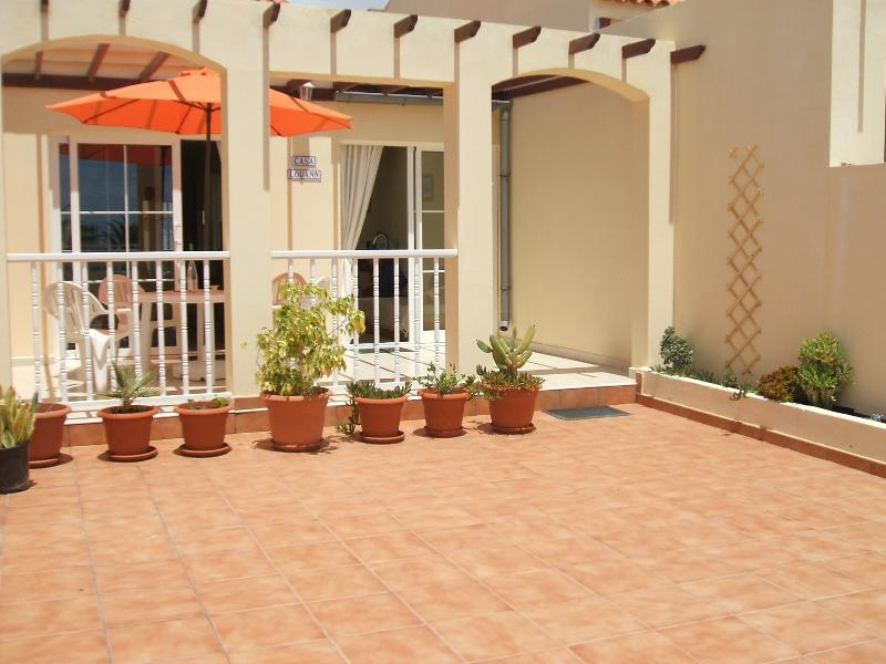 The front of our villa with large patio for enjoying a meal or just relaxing.
