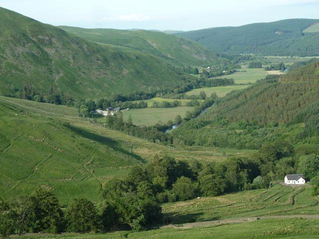 A view of Upper Ettrick Valley with Elspinhope Cottage lower right.