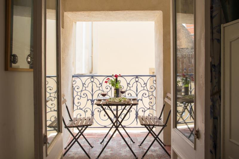 Sunny Balcony where you can savour a coffee or glass of Corbieres wine and watch village life go by