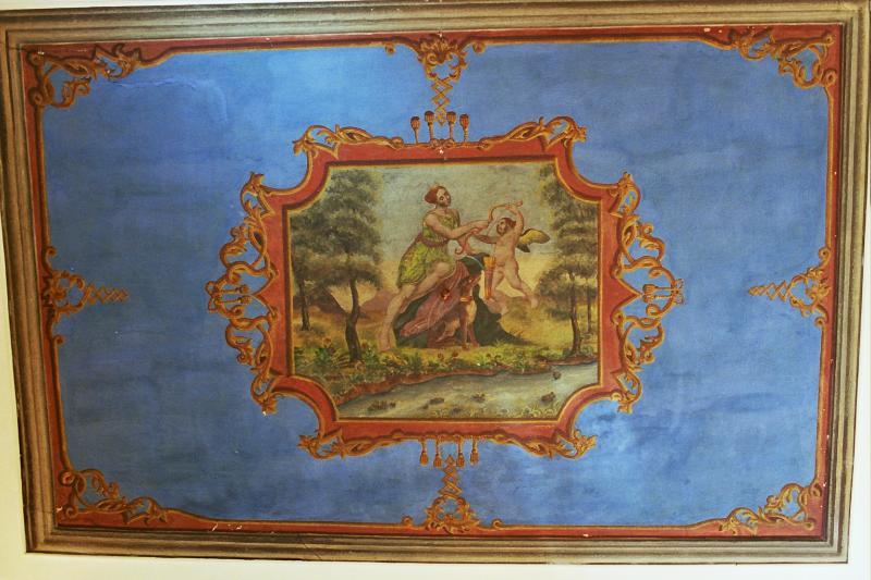 Original fresco on living room ceiling