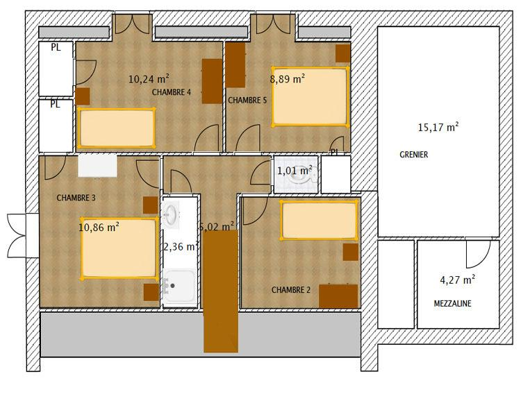 The plan of the Villa (upstairs)