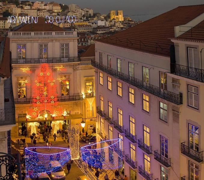 View from balcony to Rua Garrett with Christmas lights
