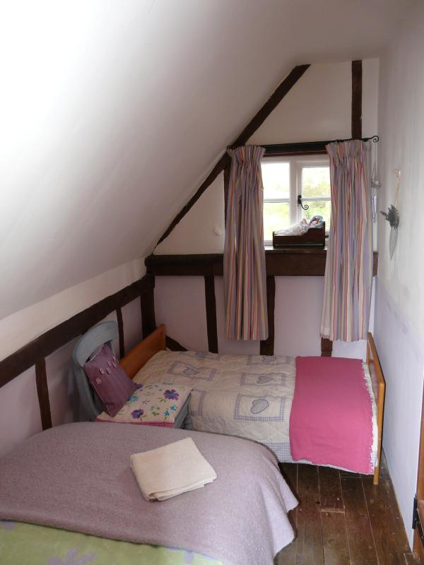 Pretty single bedroom with 'junior' bed for small child.  Overlooks the back garden.