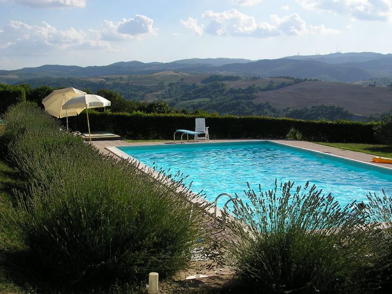 View of the swimming pool and hills