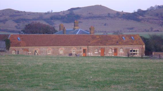 View of the farm with the Chiltern Hills behind
