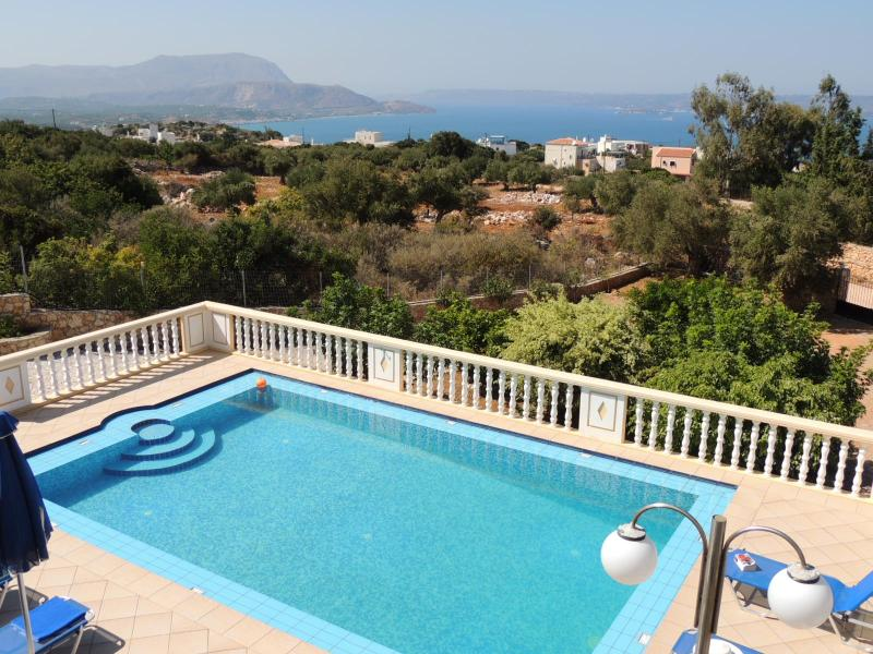 Villa Poppy pool terrace and panoramic sea view