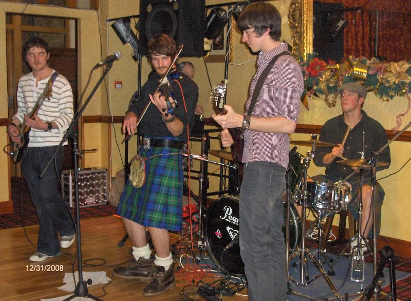 Ceilidh band playing in nearby hotel