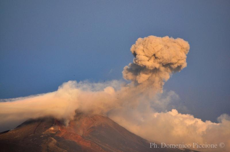 View of Mount Etna erupting from the structure