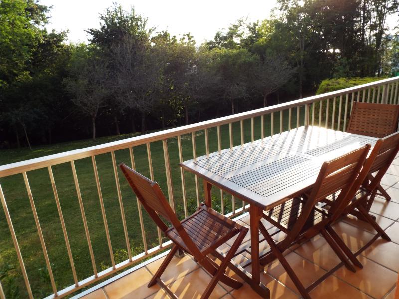 Terrasse plein sud, donnant sur la forêt. Salon de jardin et transat.