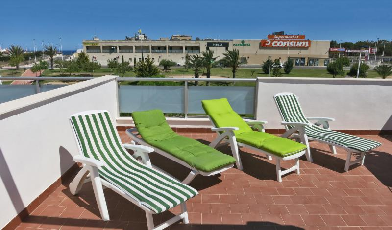 Sunloungers on the private roof terrace