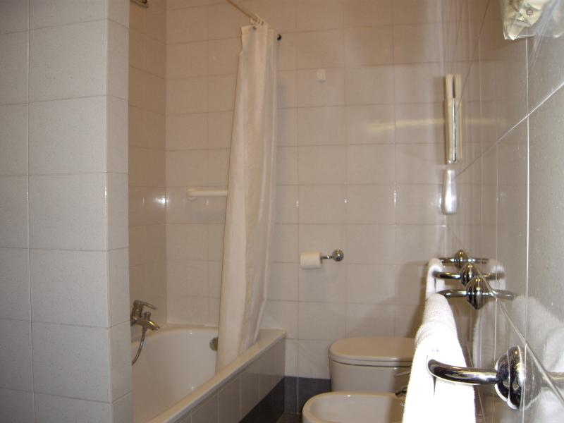 Private bathroom with bathtub and shower