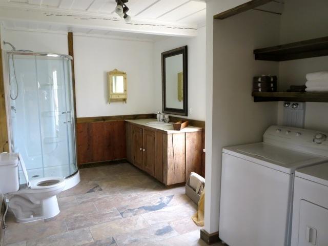 Salle de bain avec douche et laveuse/sécheuse