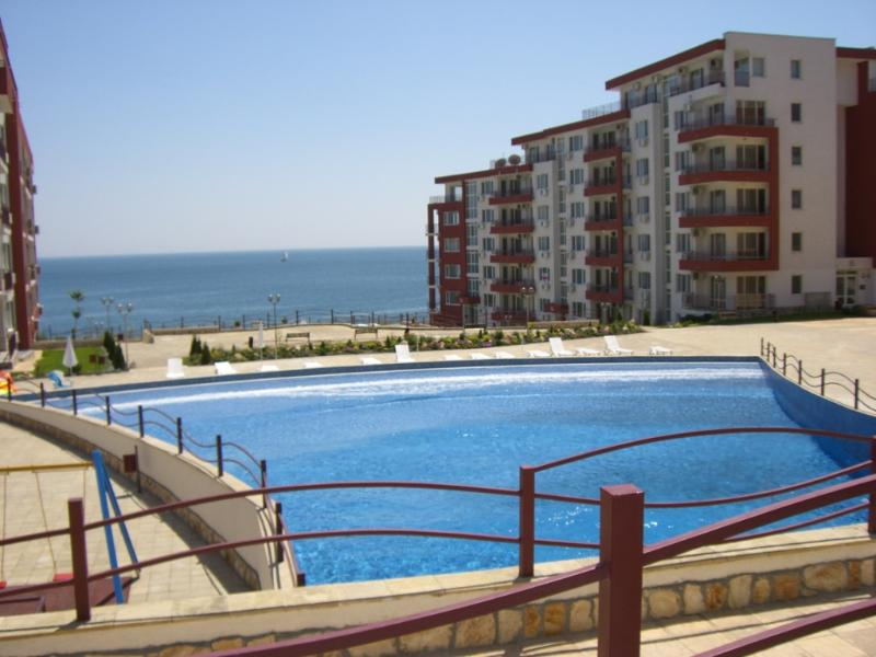 Looking across the wave pool to our apartments near the sea
