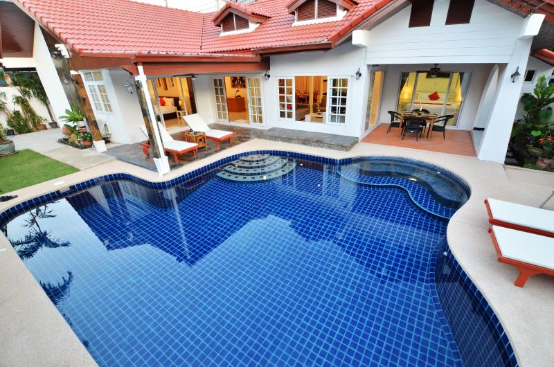 looking down on salt water swimming pool and villa ,( you can see what a good size pool this is)