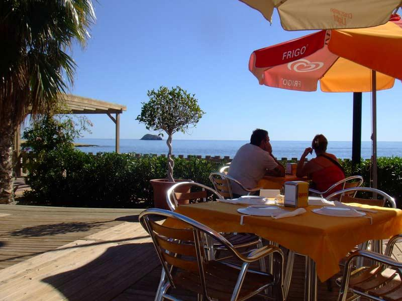 Enjoy a glass of wine or a coffee as you gaze at the mediteranean from one of the beach bars