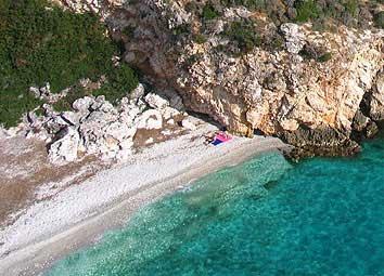 Beach beside villa