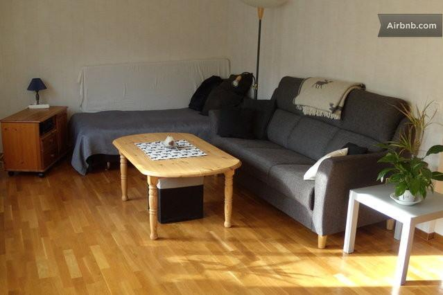 Sleeping accommodation for max 4 people in spacious living room. A priceworthy and comfortable stay