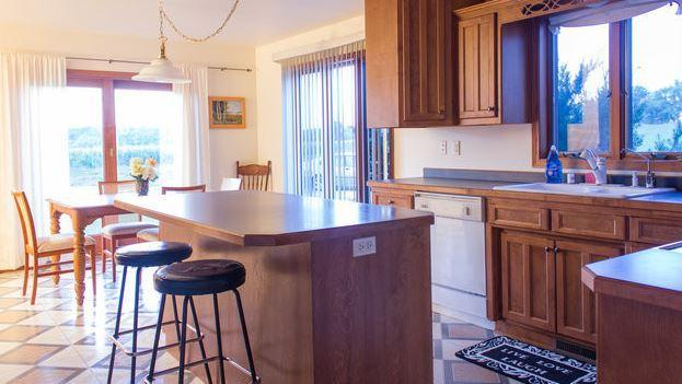Sunny kitchen and dining areas