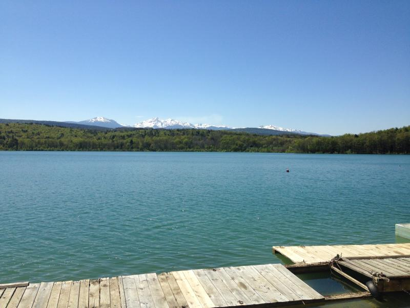 Lac Montbel with snowcapped Pyrenees in April. 20 minutes drive from house