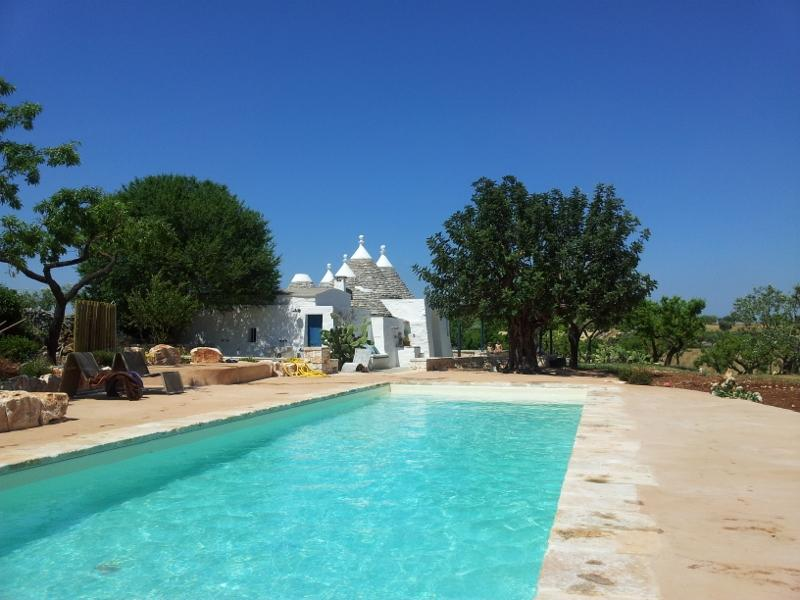 View of the trullo from the swimming pool