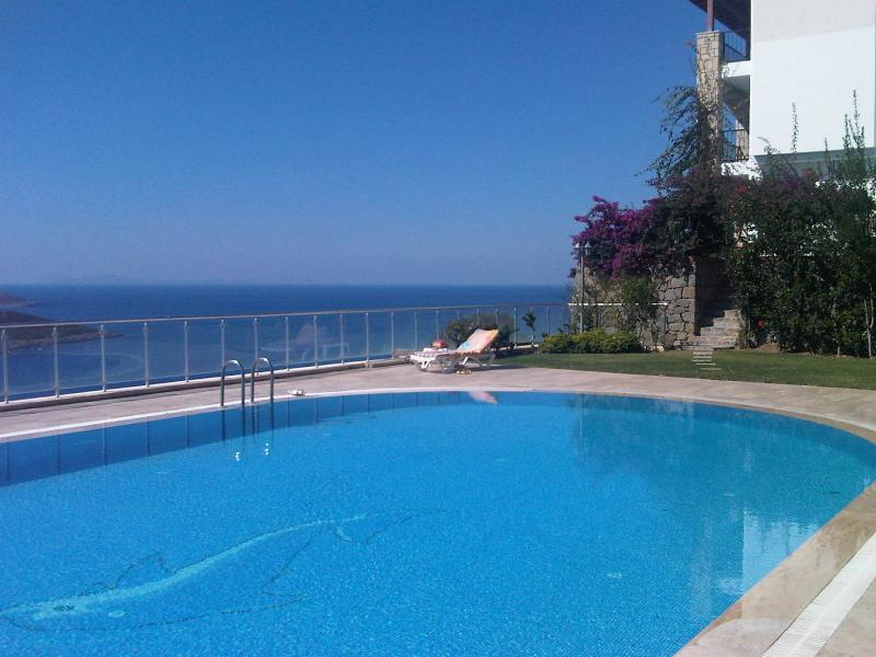 Quiet pool and sea view, 50m