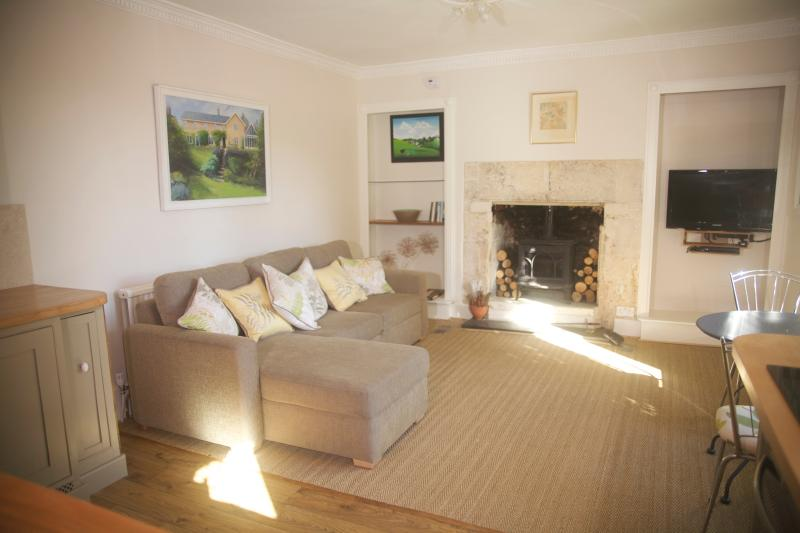 Living room with a wood burning stove