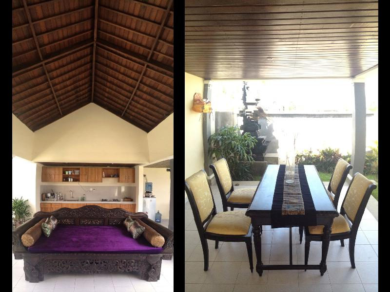 Open air living room and dining area with family temple