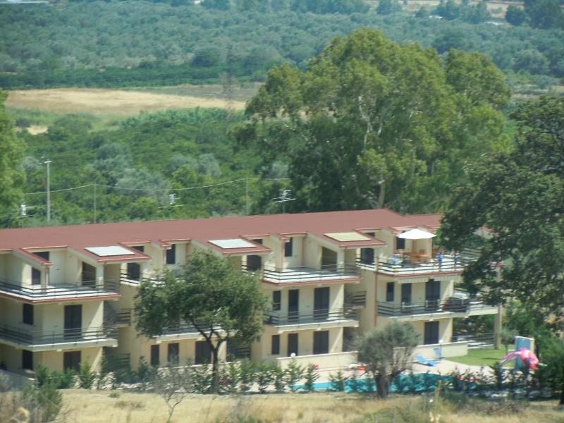 View of apartments from the vineyard
