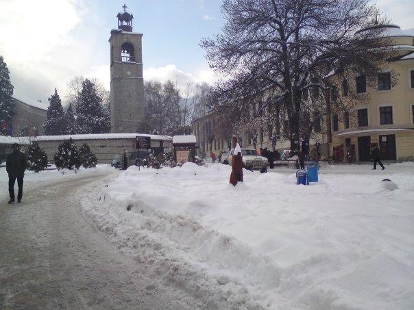 Bansko Altstadt im winter