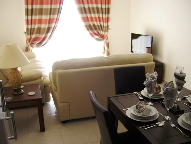 A tastefully furnished dining and living room
