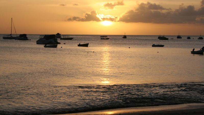 Speightstown fishing boats at sunset