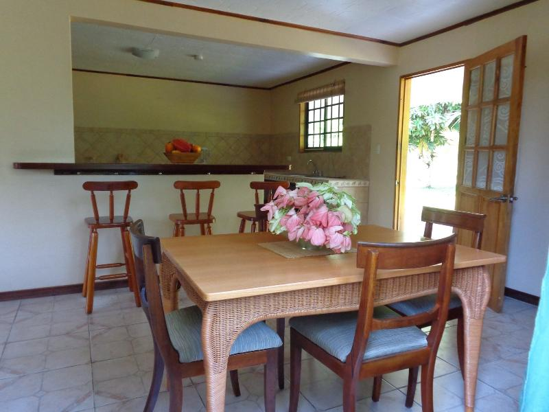 Kitchen and dining area leading on to terraces and private garden